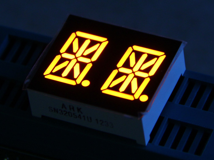 "Dual Alphanumeric 14 Segment LED - Amber 0.54"" Common Cathode"