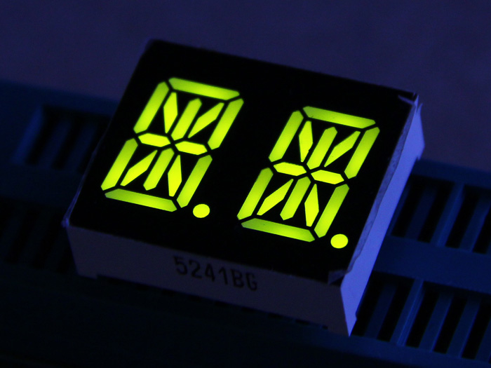 Dual Alphanumeric 14 Segment LED - Yellow Green 0.54""