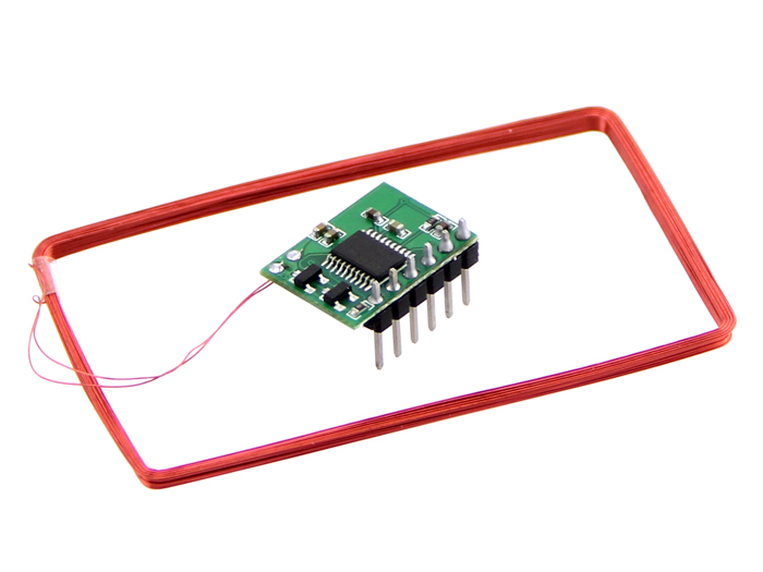 Mini 125Khz RFID Module - Pre-Soldered Antenna (70mm Reading Distance)