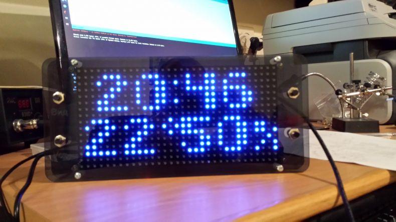 Arduino based clock using 16x32 RGB LED matrix
