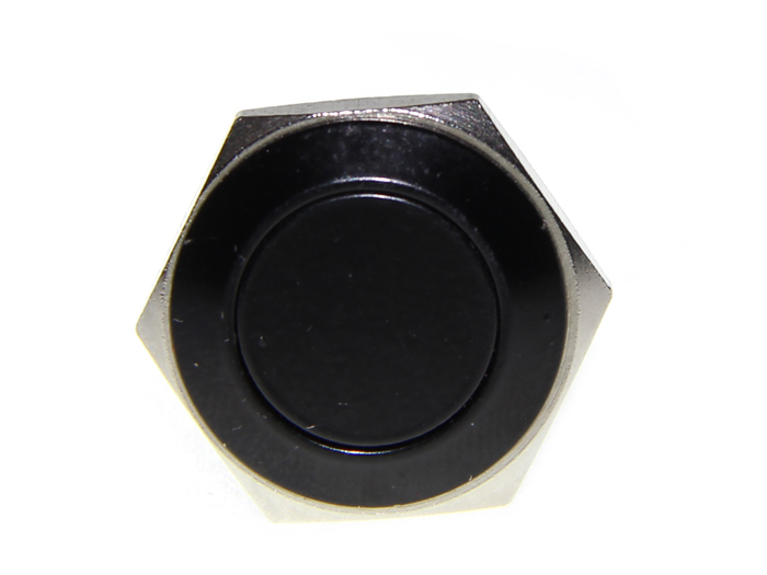 16mm Anti-vandal Metal Push Button - Carbon Black