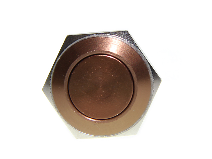 16mm Anti-vandal Metal Push Button - Chocolate Brow