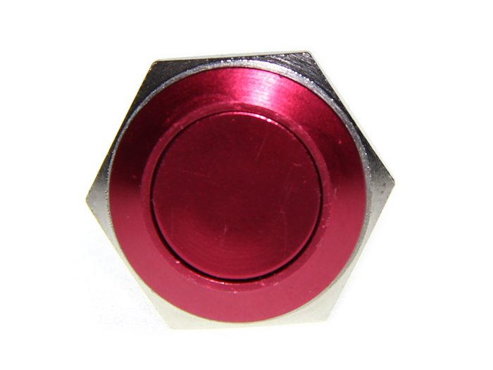 16mm Anti-vandal Metal Push Button - Crimson Red