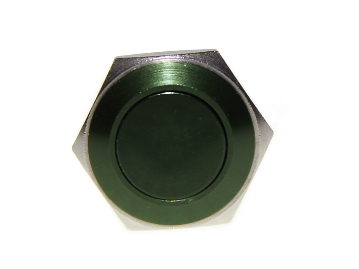 16mm Anti-vandal Metal Push Button - Dark Green