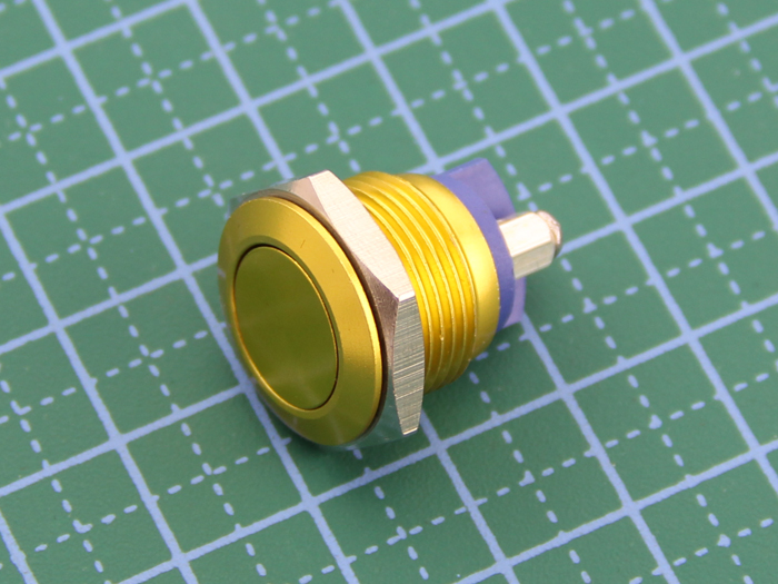 16mm Anti-vandal Metal Push Button - Glory Gold