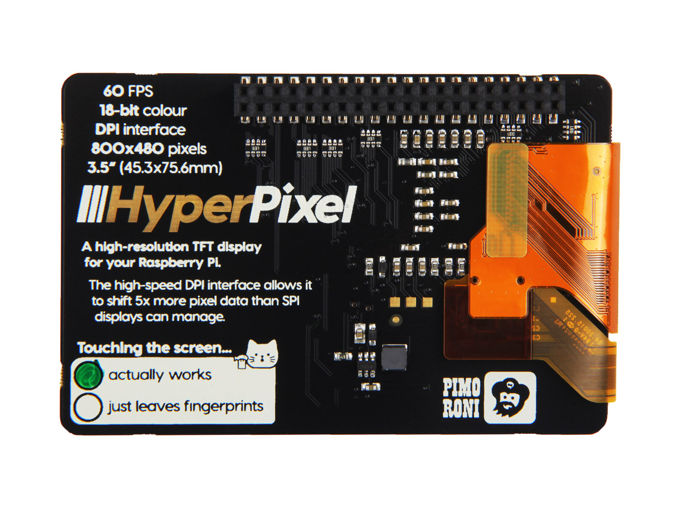"Pimoroni HyperPixel - 3.5"" Hi-Res Display for Raspberry PI"