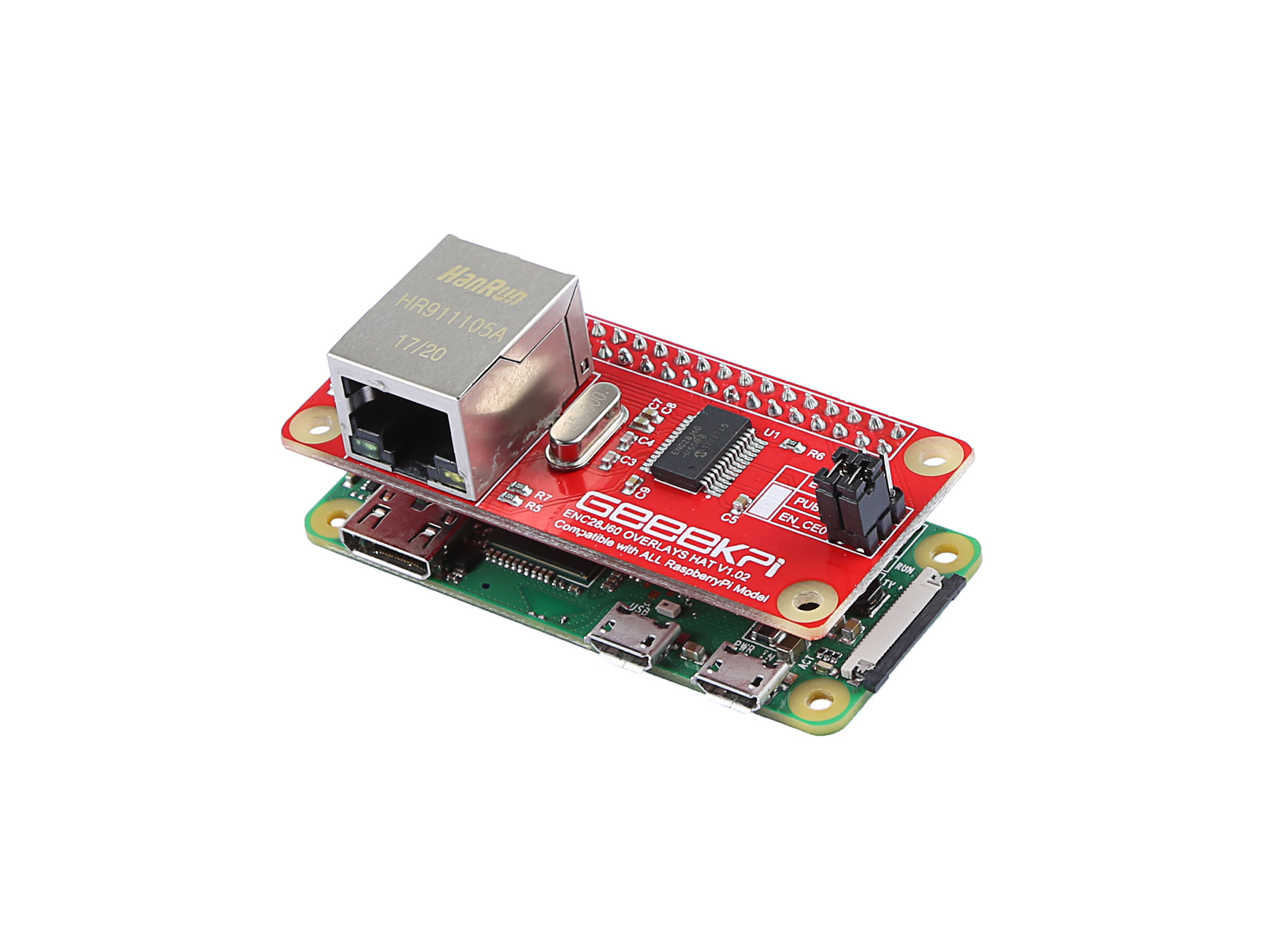 ENC28J60 OVERLAYS HAT for Raspberry pi
