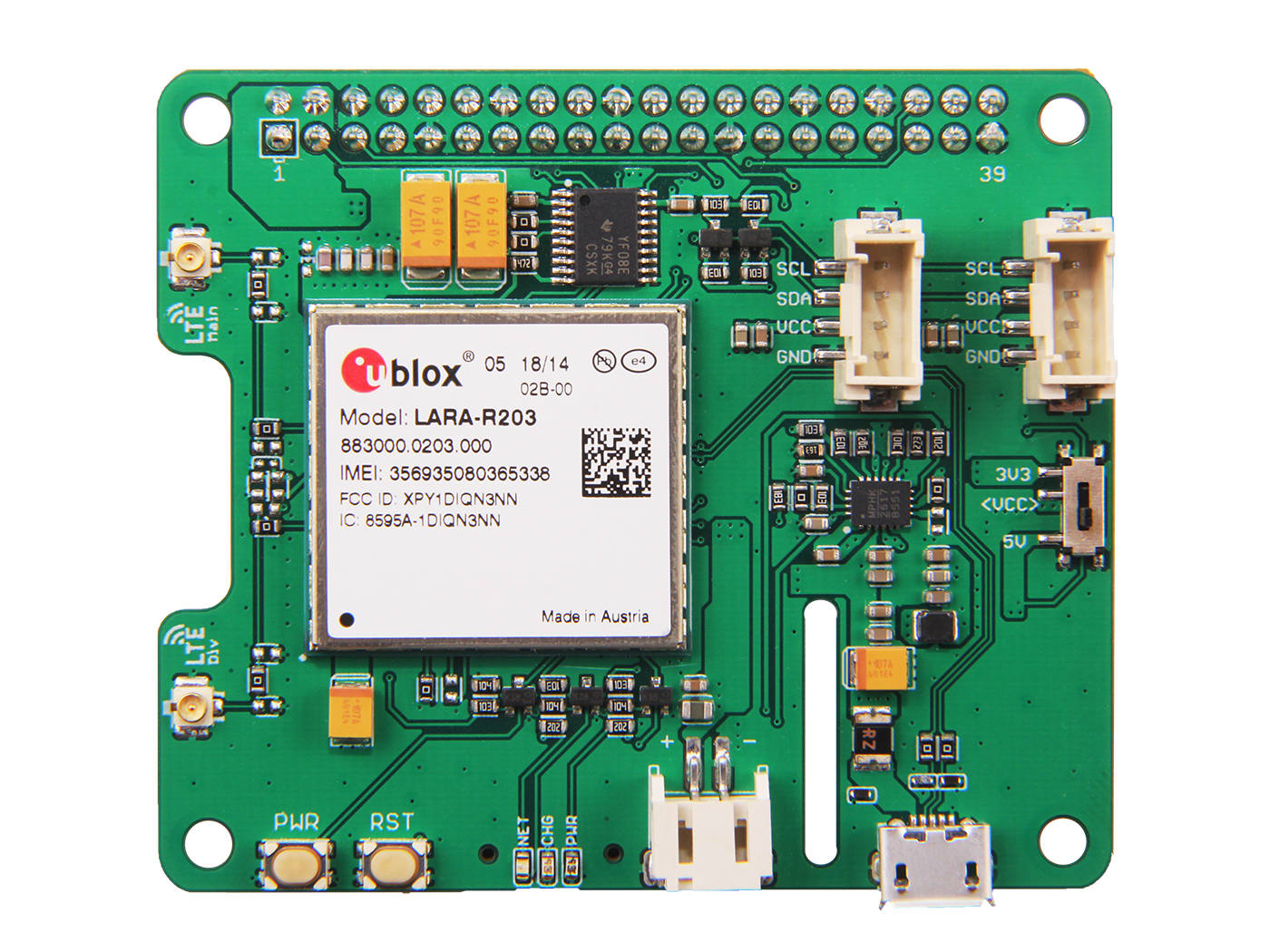 LTE Cat 1 Pi HAT (USA - AT&T)