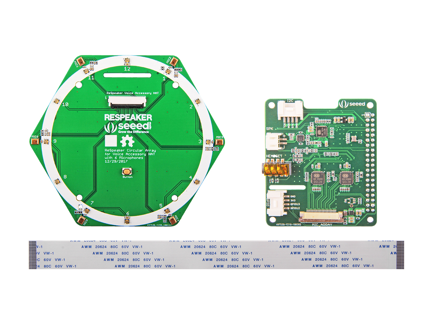 Respeaker Mic Array V20 Voice Recognition System And Embedded Controllers 6 Circular Kit For Raspberry Pi