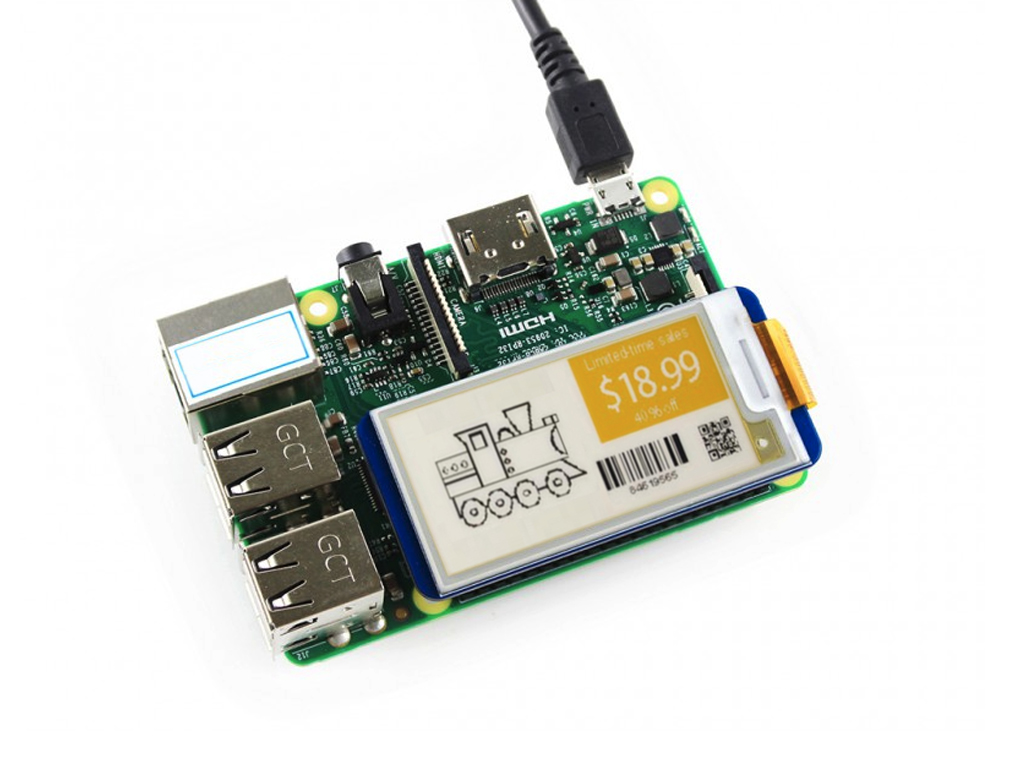 2.13inch E-Ink display HAT for Raspberry Pi & Arduino yellow/black/white 3 color e paper