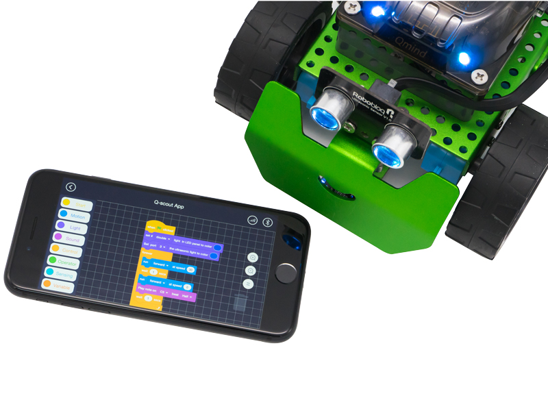 Q-Scout Robot Building Kit Line Follower - Arduino Coding & Graphical Programming, STEM Toy, Lego Compatibility