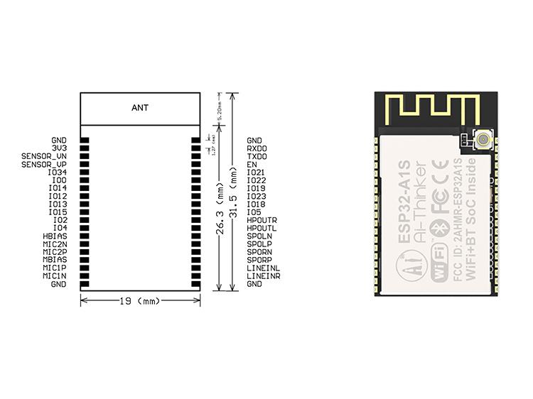 ESP32-A1S Wi-Fi+BT SoC Audio Module (IPEX block output
